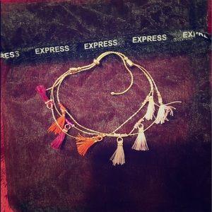 EXPRESS Pink Tassel Gold Cord Bracelet